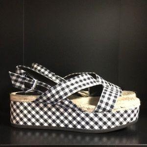 RAG & BONE Megan gingham canvas platform sandals